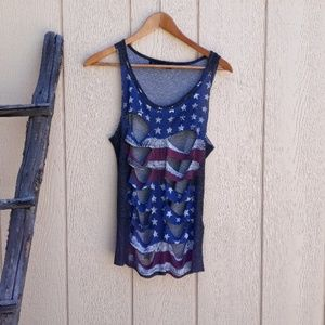 Classic Flag Stars Distressed Destroyed Tank Top